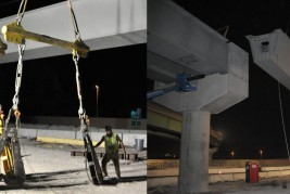 V&M Erectors team performing structural steel night lifts